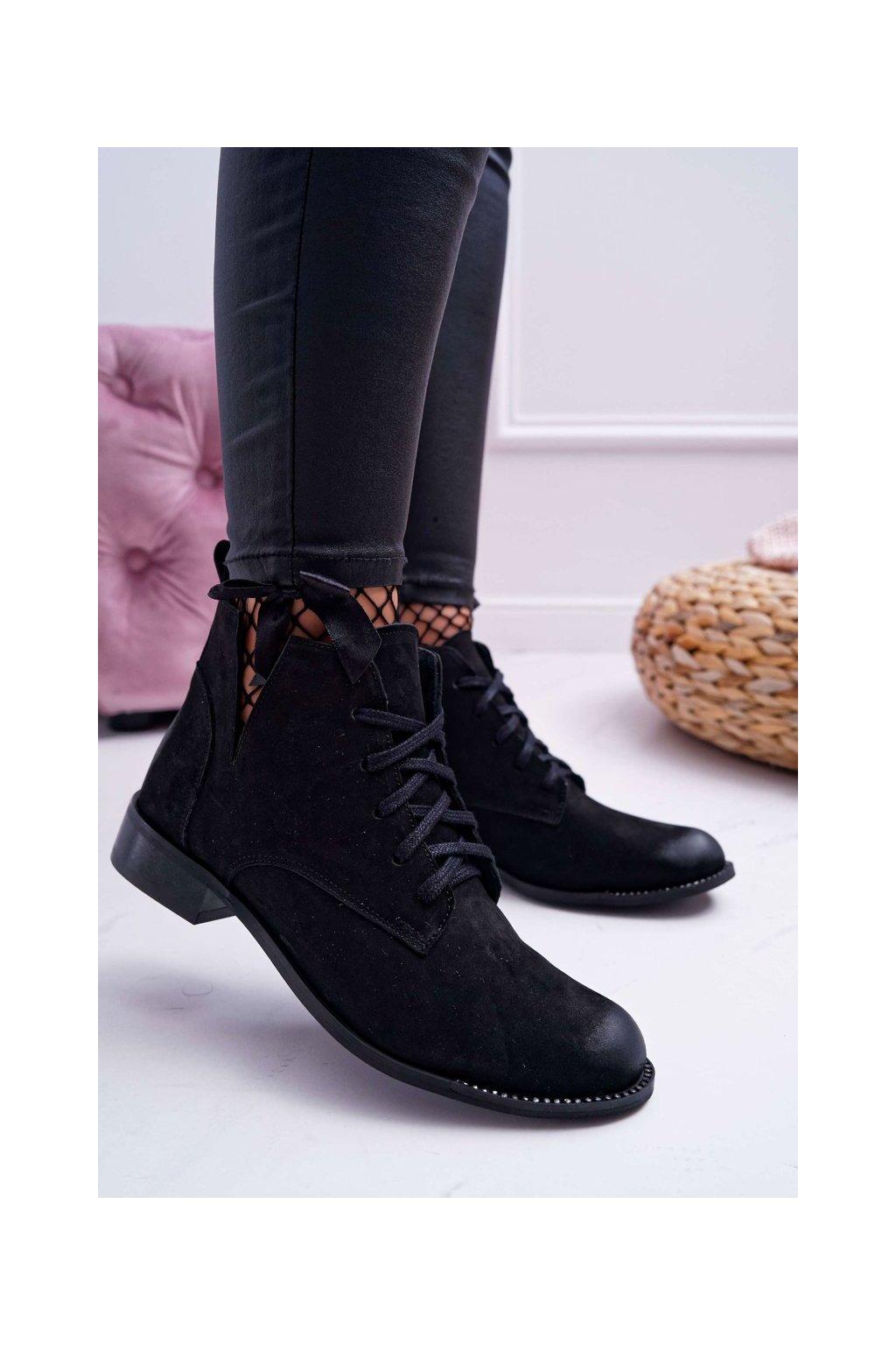 Členkové topánky na podpätku farba čierna kód obuvi 2420 BLK/N