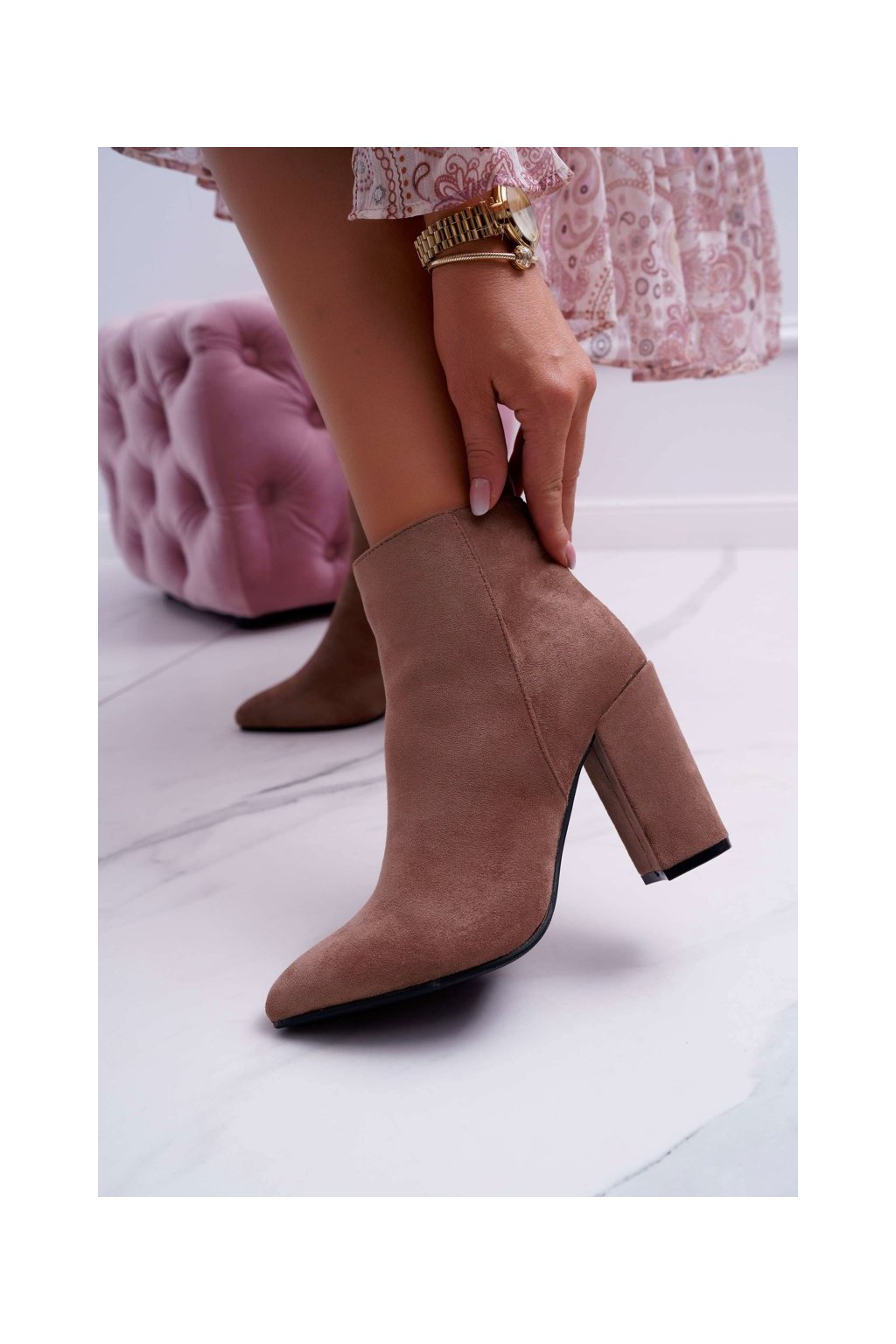Členkové topánky na podpätku farba hnedá kód obuvi S0-27 KHAKI