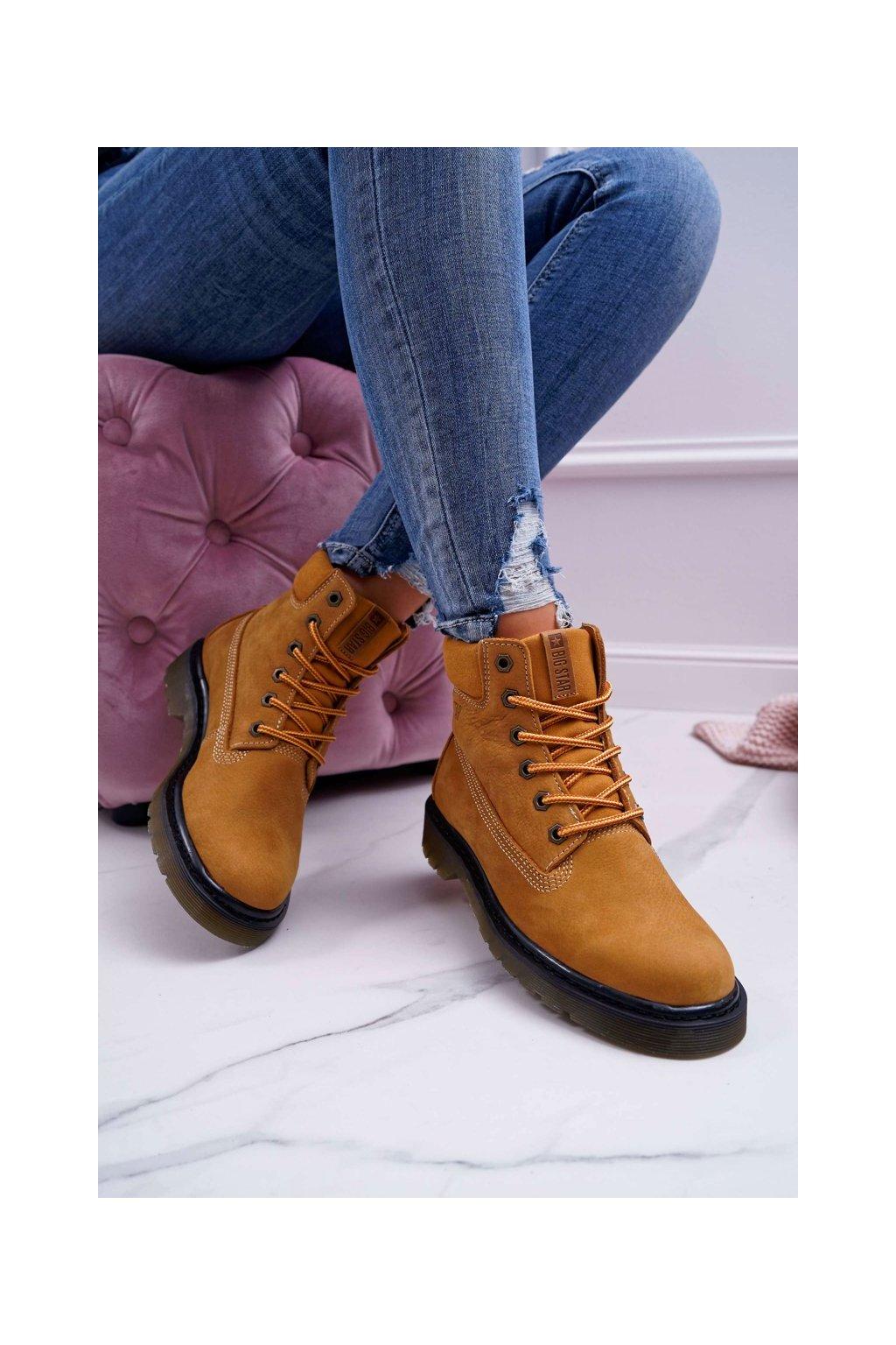 Členkové topánky na podpätku farba hnedá kód obuvi EE274013 CAMEL