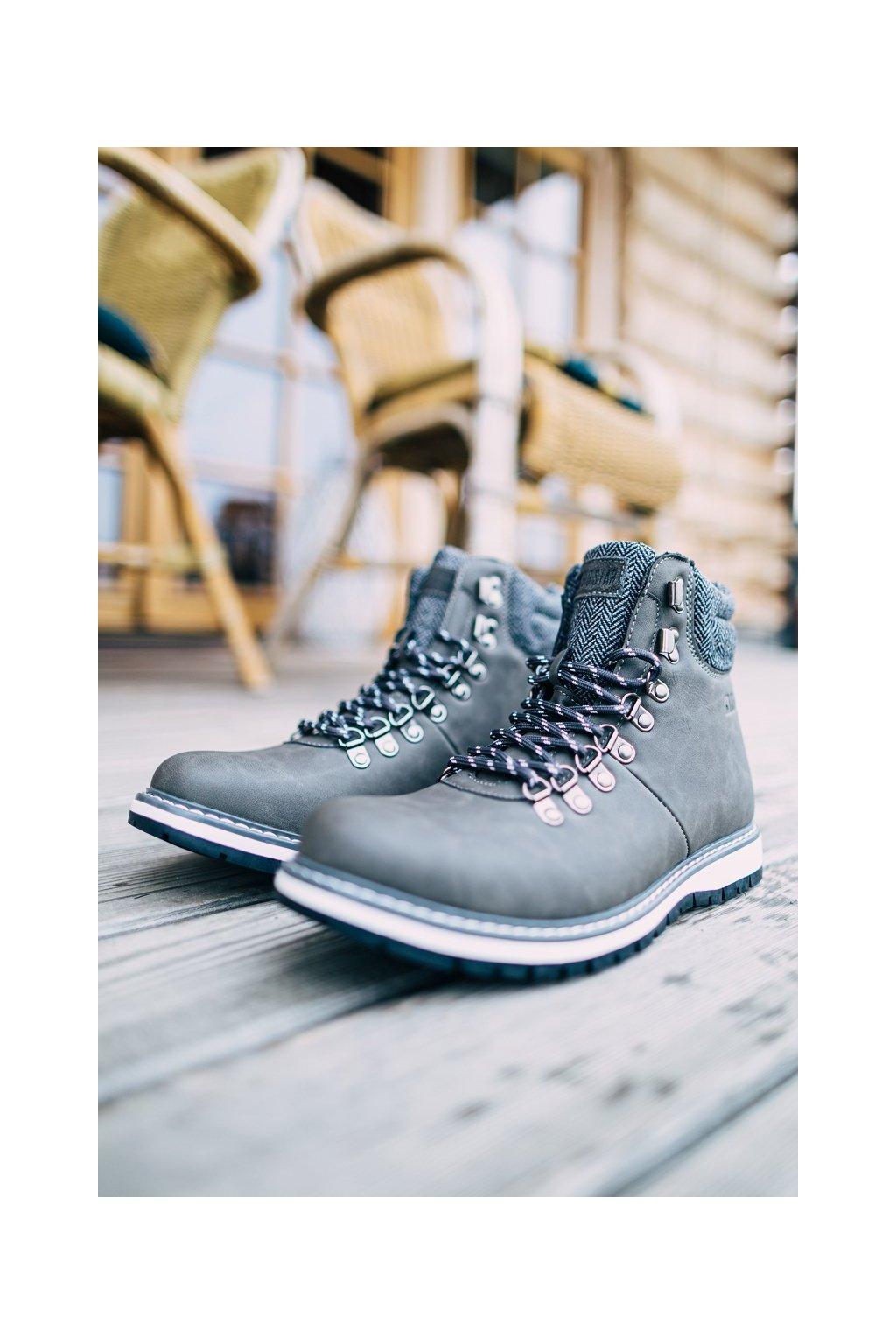 Pánske topánky na zimu farba sivá kód obuvi EE174405 GREY