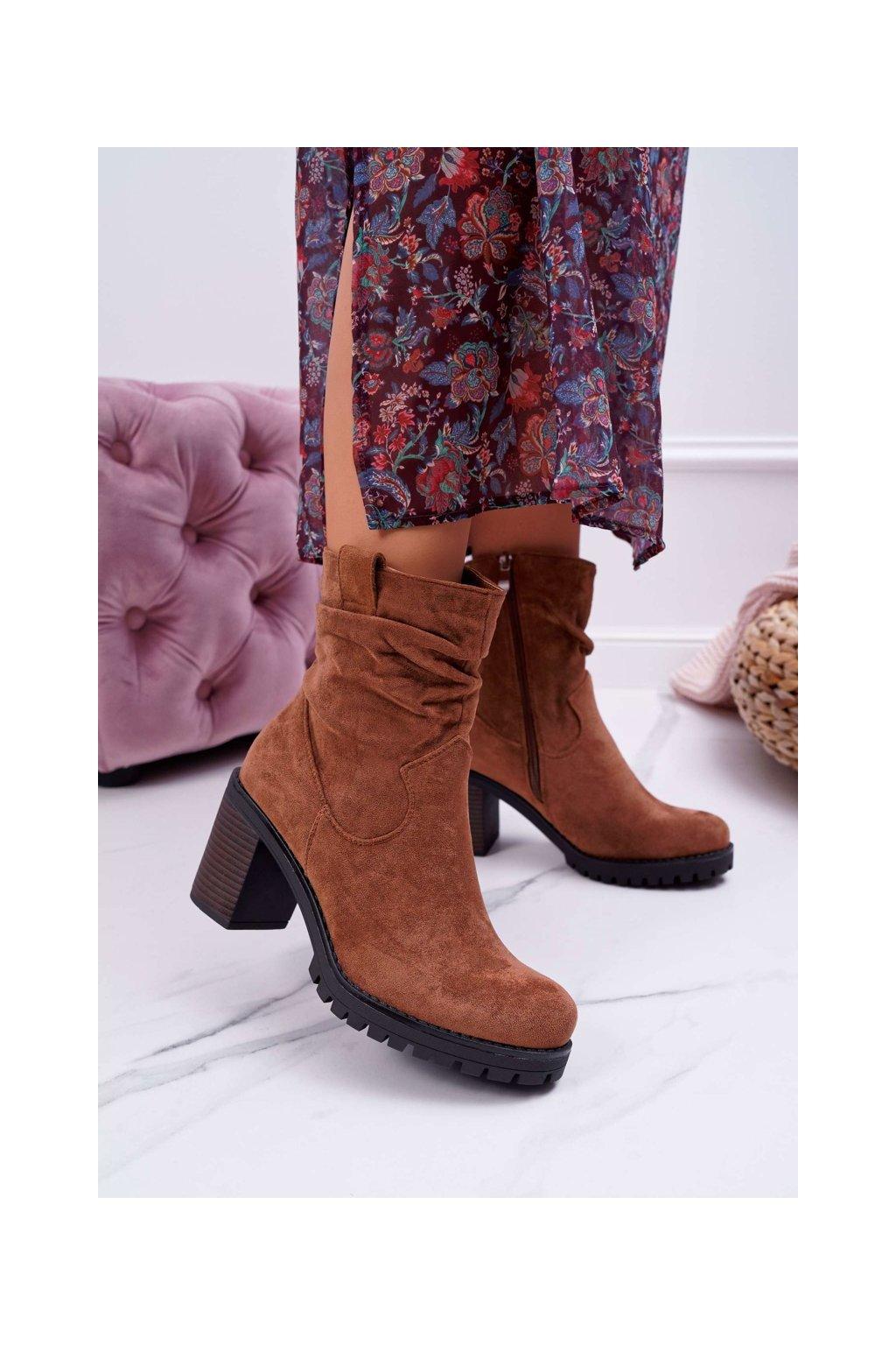 Členkové topánky na podpätku farba hnedá kód obuvi RQ232 CAMEL