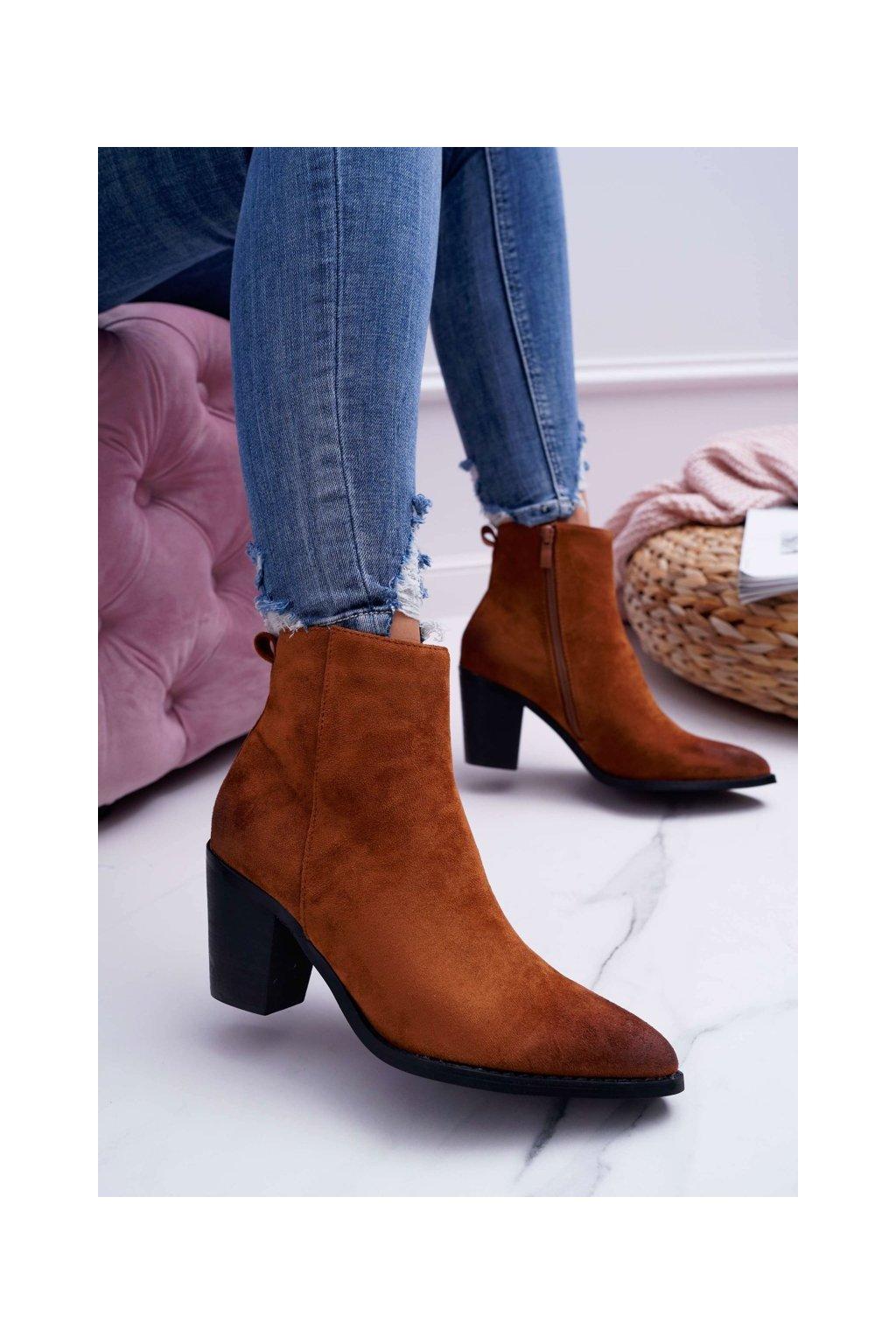 Členkové topánky na podpätku farba hnedá kód obuvi RV9524 CAMEL