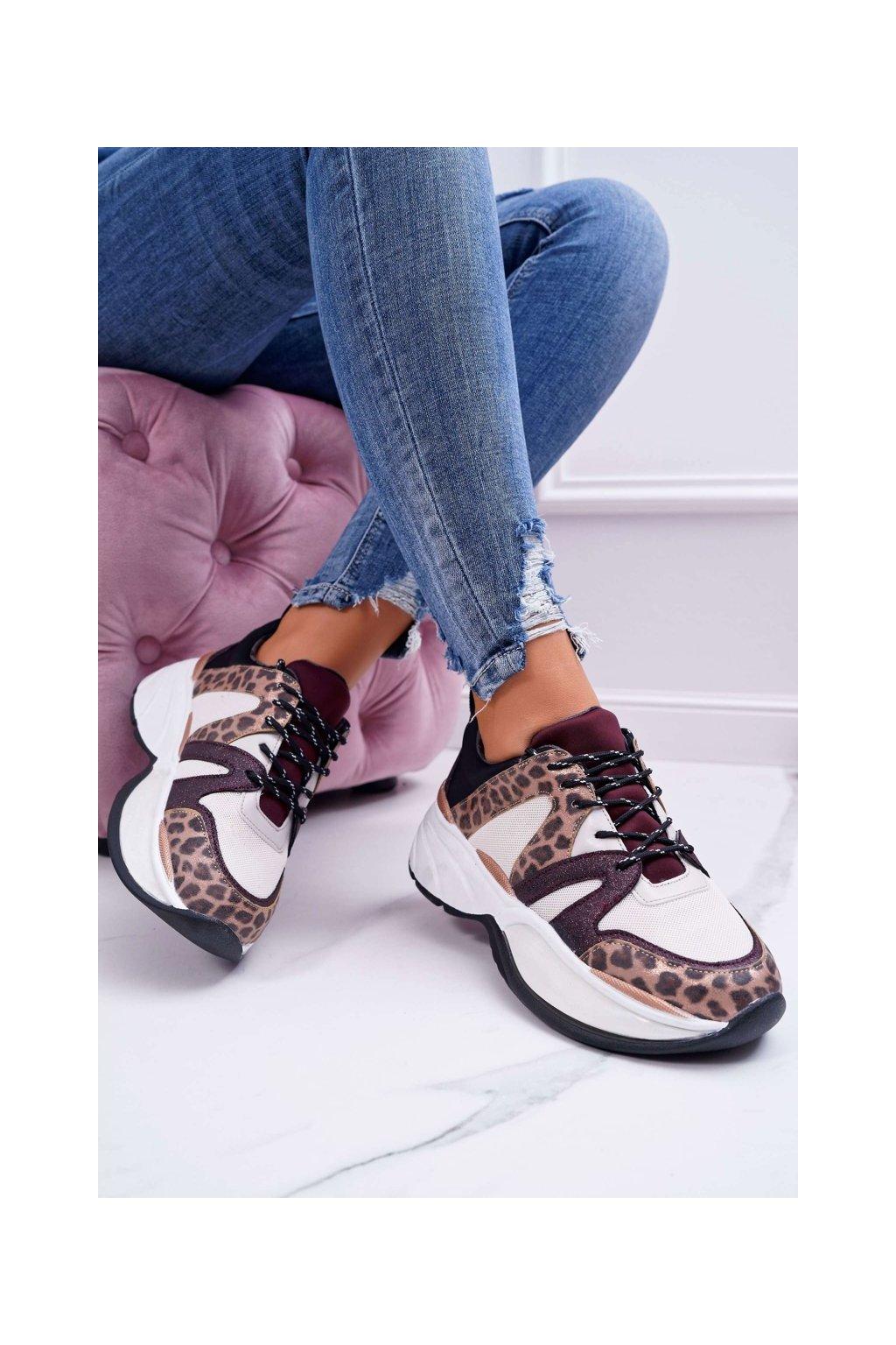 Dámske tenisky farba hnedá kód obuvi FY091-3 WINE