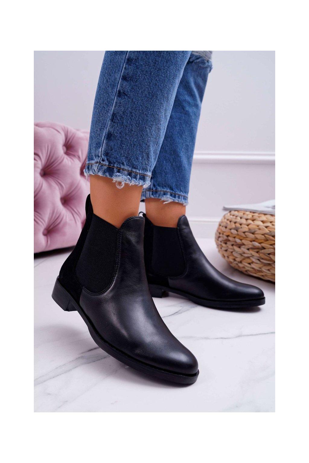 Členkové topánky na podpätku farba čierna kód obuvi 04359-01/00-3 BLK