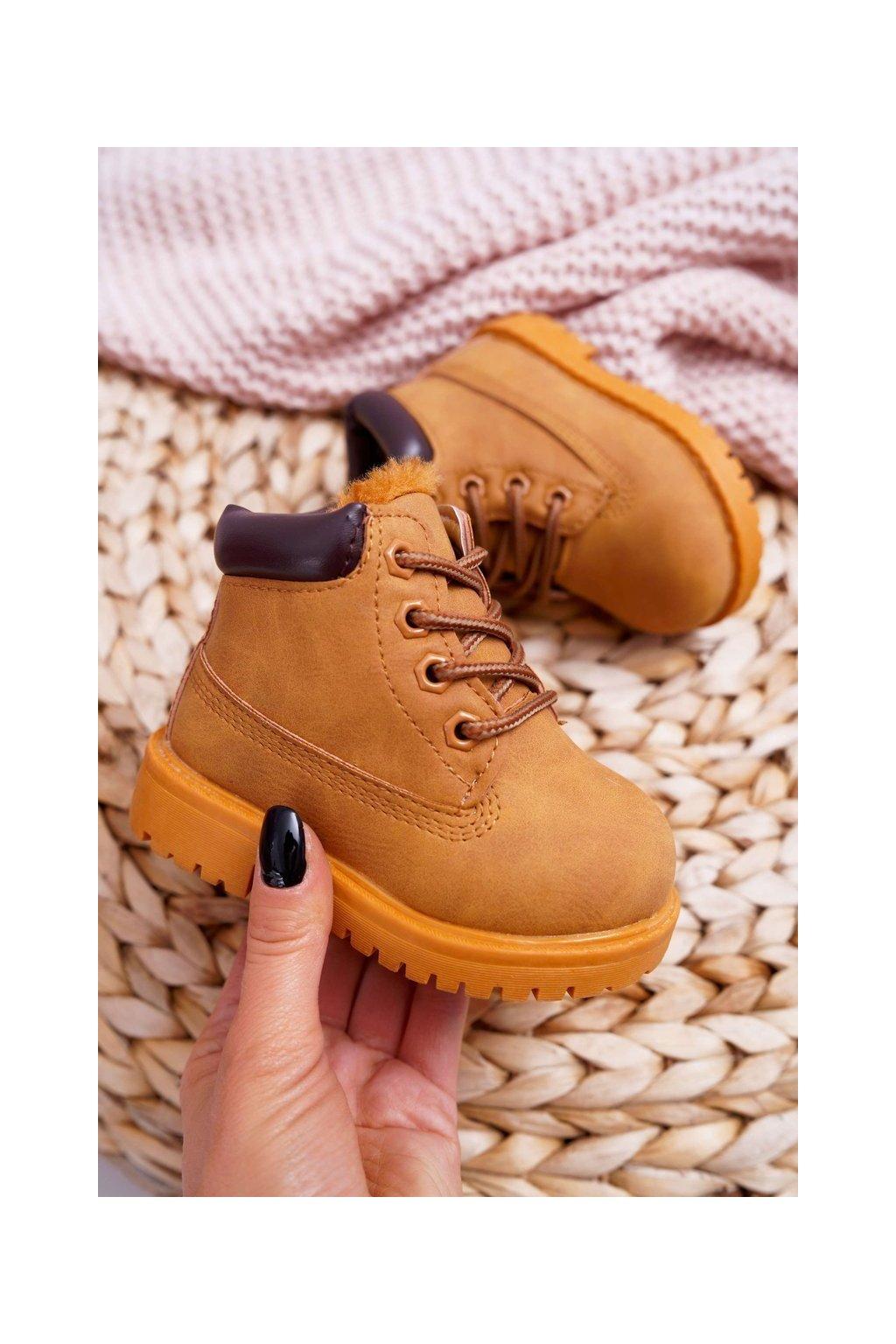 Detské členkové topánky farba hnedá kód obuvi 20306-1B/2B/3B CAMEL/BR