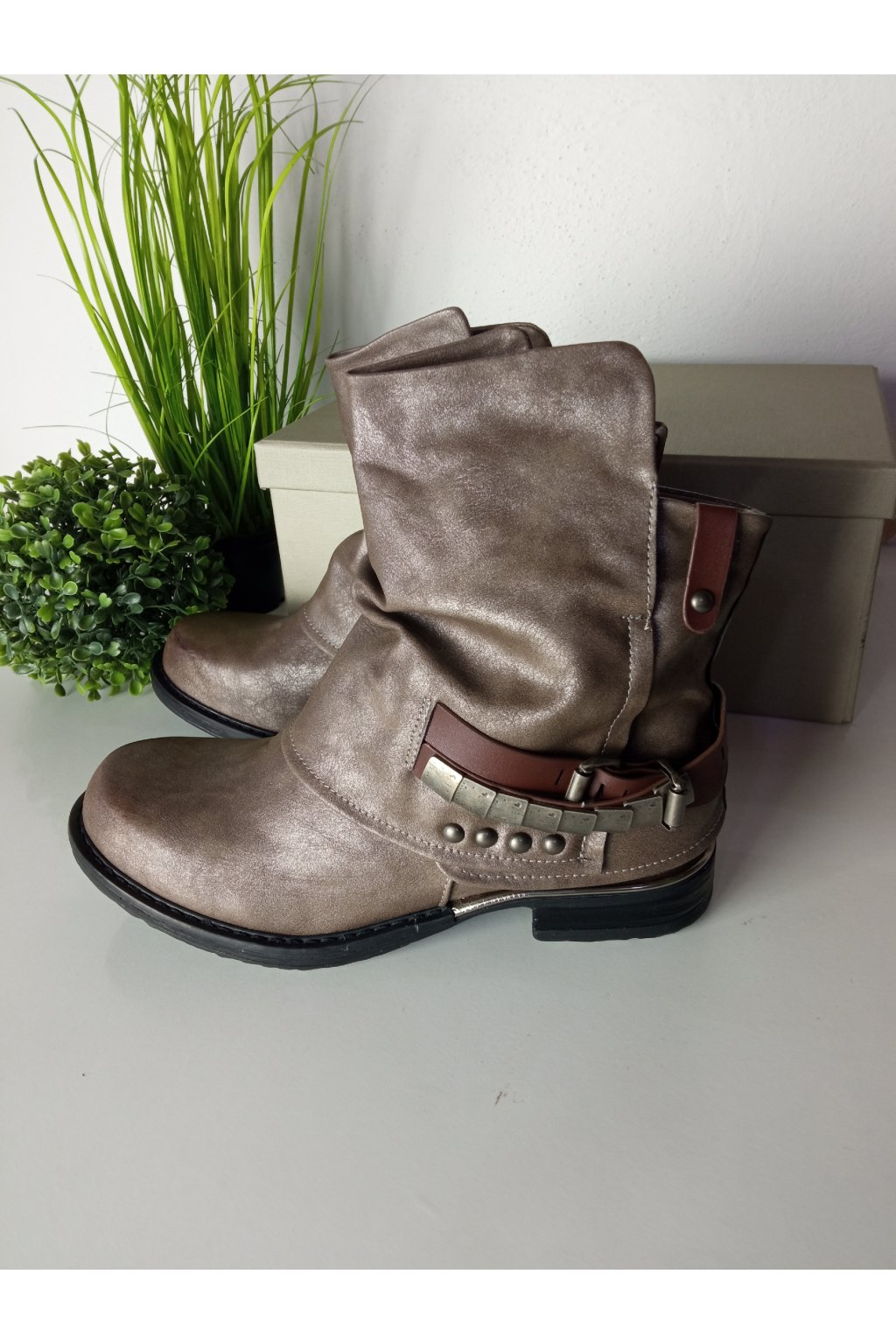 Khaki topánky na zimu NJSK LL-165P