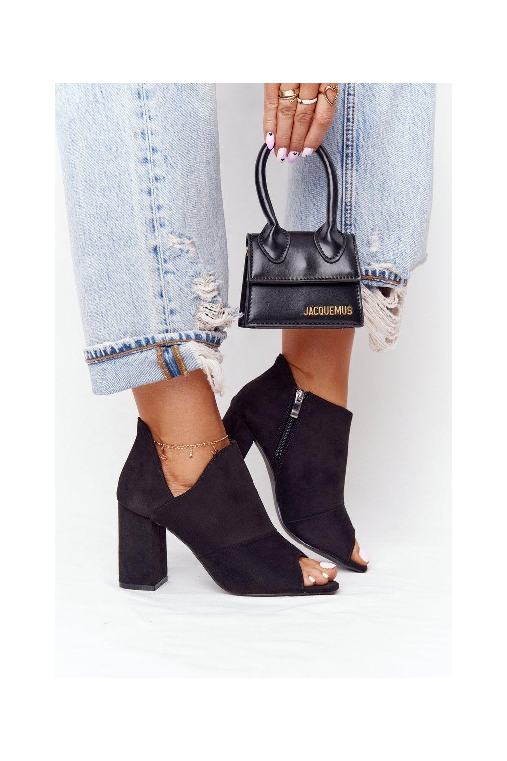 Členkové topánky na podpätku farba čierna kód obuvi 21-17095 BK BLACK