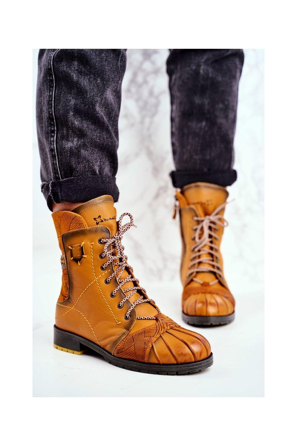 Členkové topánky na podpätku farba žltá kód obuvi 03961-07/00-4 YELLOW