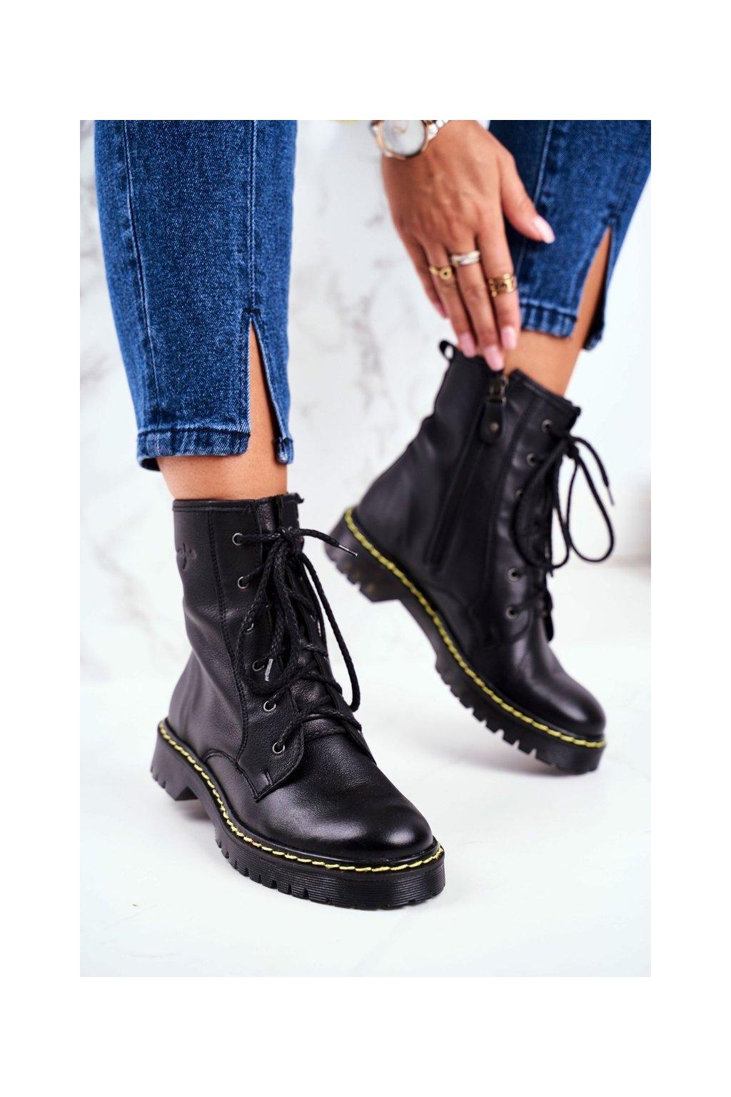 Členkové topánky na podpätku farba čierna kód obuvi 01609-33/00-6 BLK