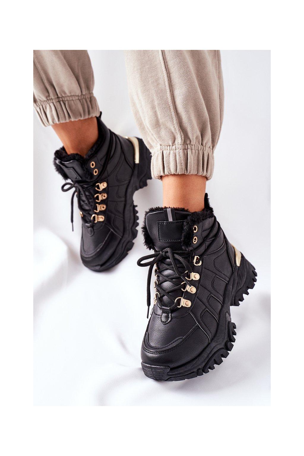 Členkové topánky na podpätku farba čierna kód obuvi HF218-9 BLK