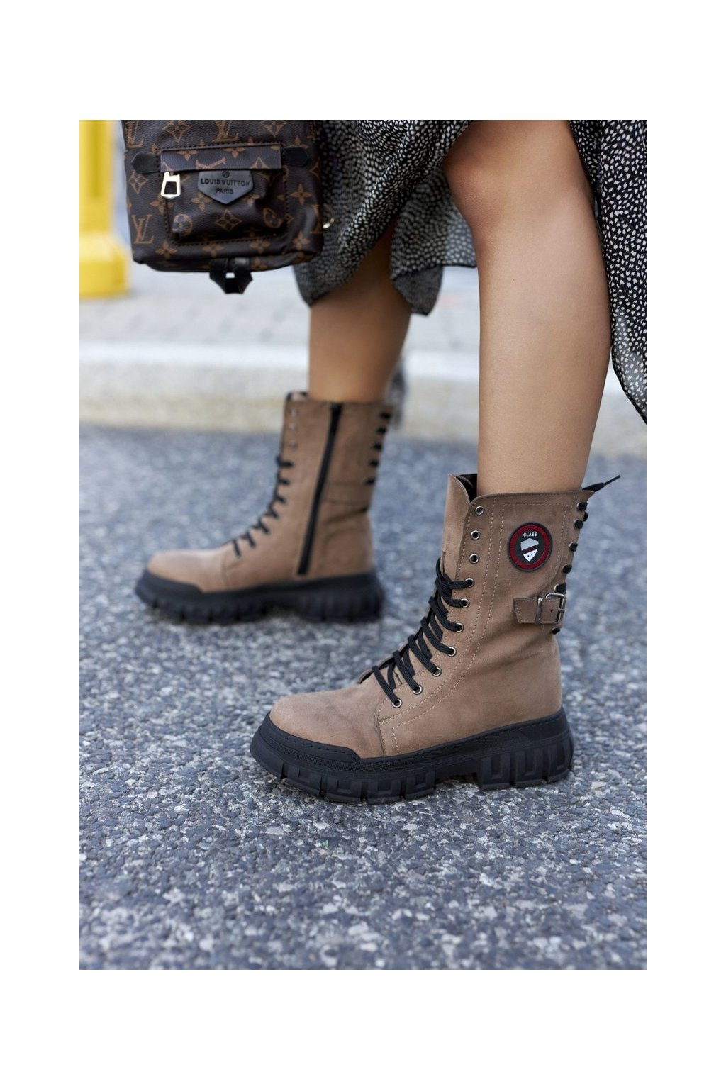 Členkové topánky na podpätku farba hnedá kód obuvi 21-54002 BROWN