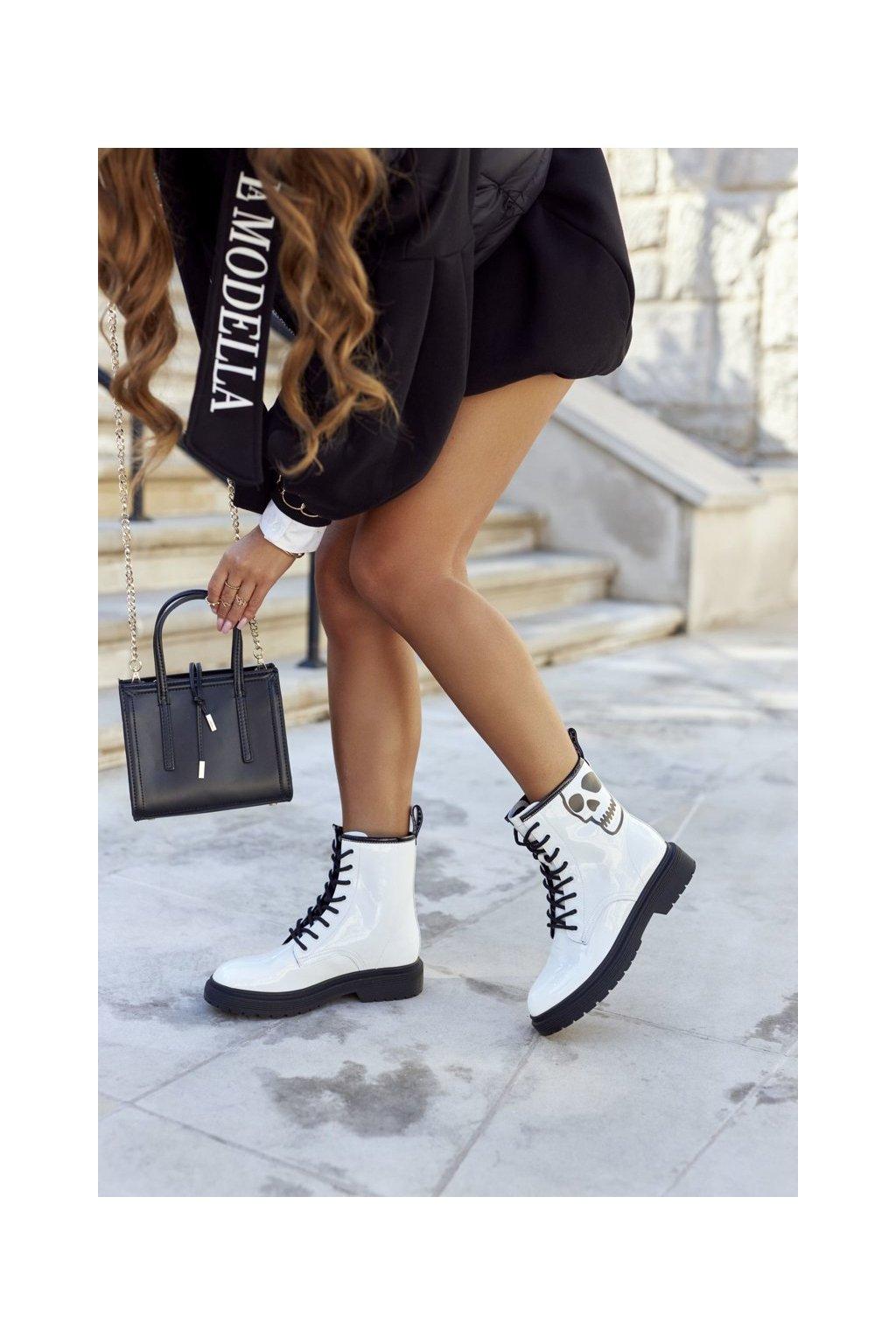 Členkové topánky na podpätku farba biela kód obuvi II2N4048 WHITE