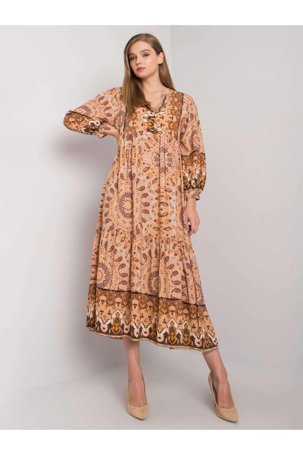 Béžové voľné šaty vzorované TW-SK-BI-H3787.40X