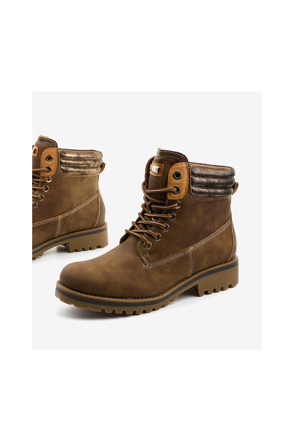Dámske členkové topánky trapery hnedé kód - GM