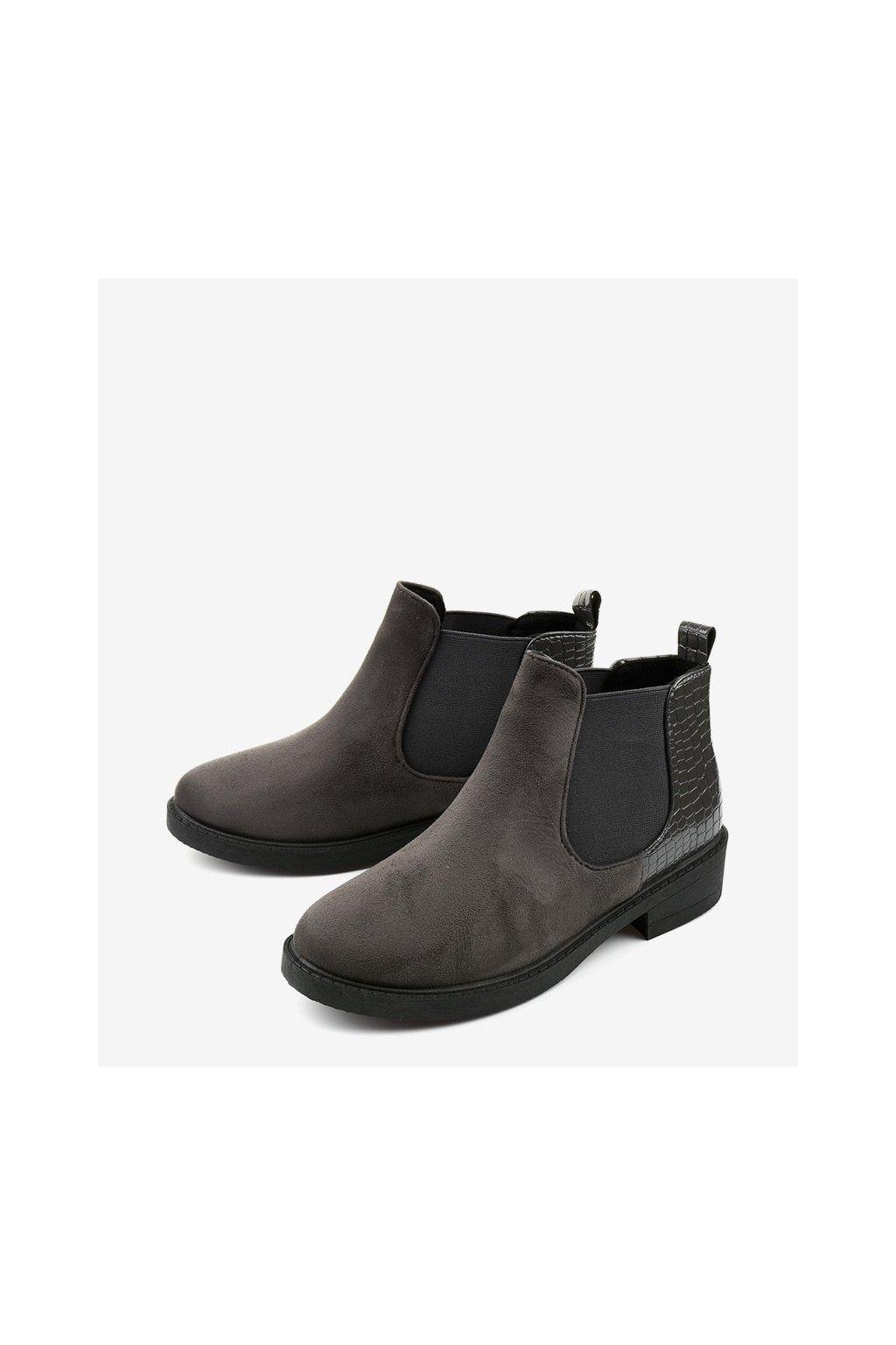 Dámske členkové topánky sivé kód - GM