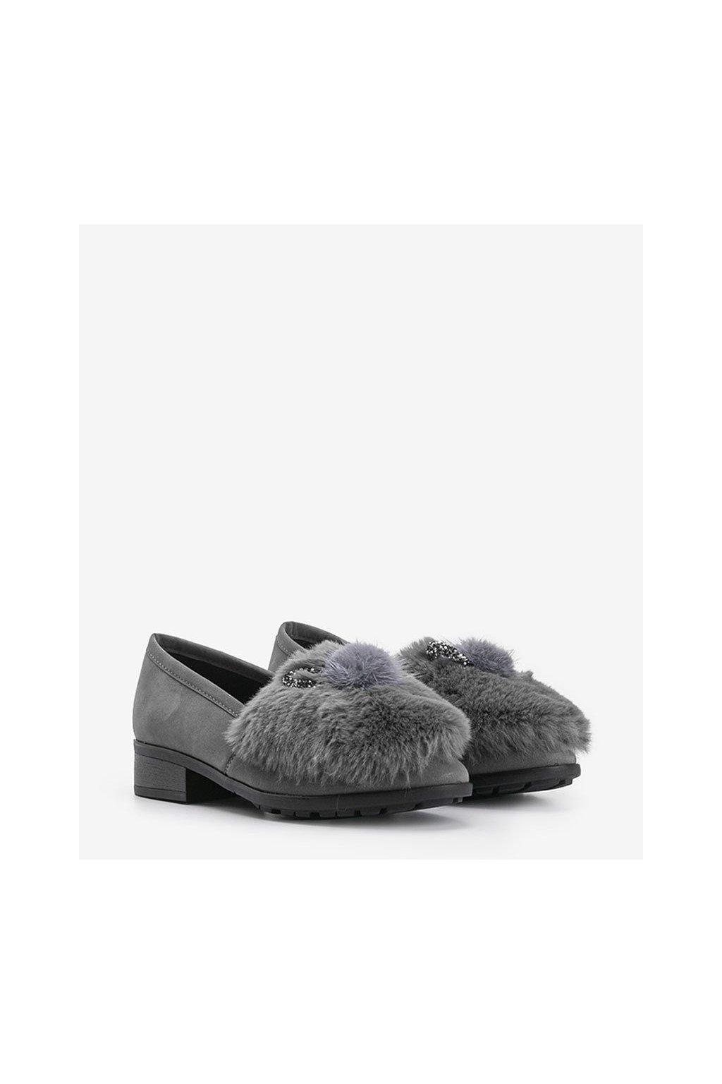 Dámske topánky mokasíny sivé kód C17-6166-3 - GM