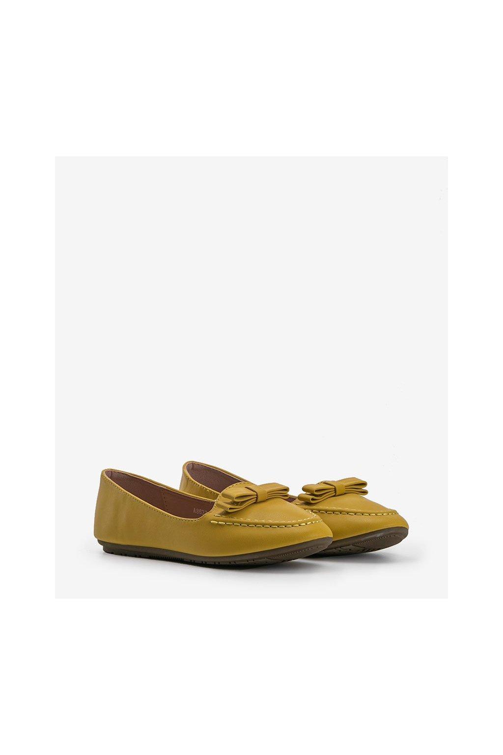 Dámske topánky mokasíny žlté kód A8637 - GM