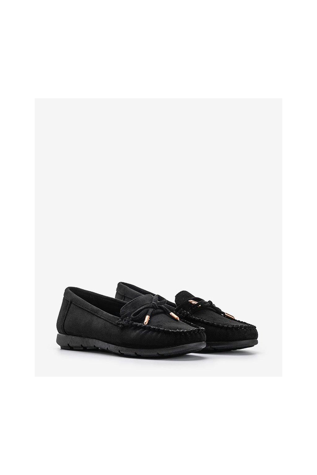 Dámske topánky mokasíny čierne kód RQ-2 - GM