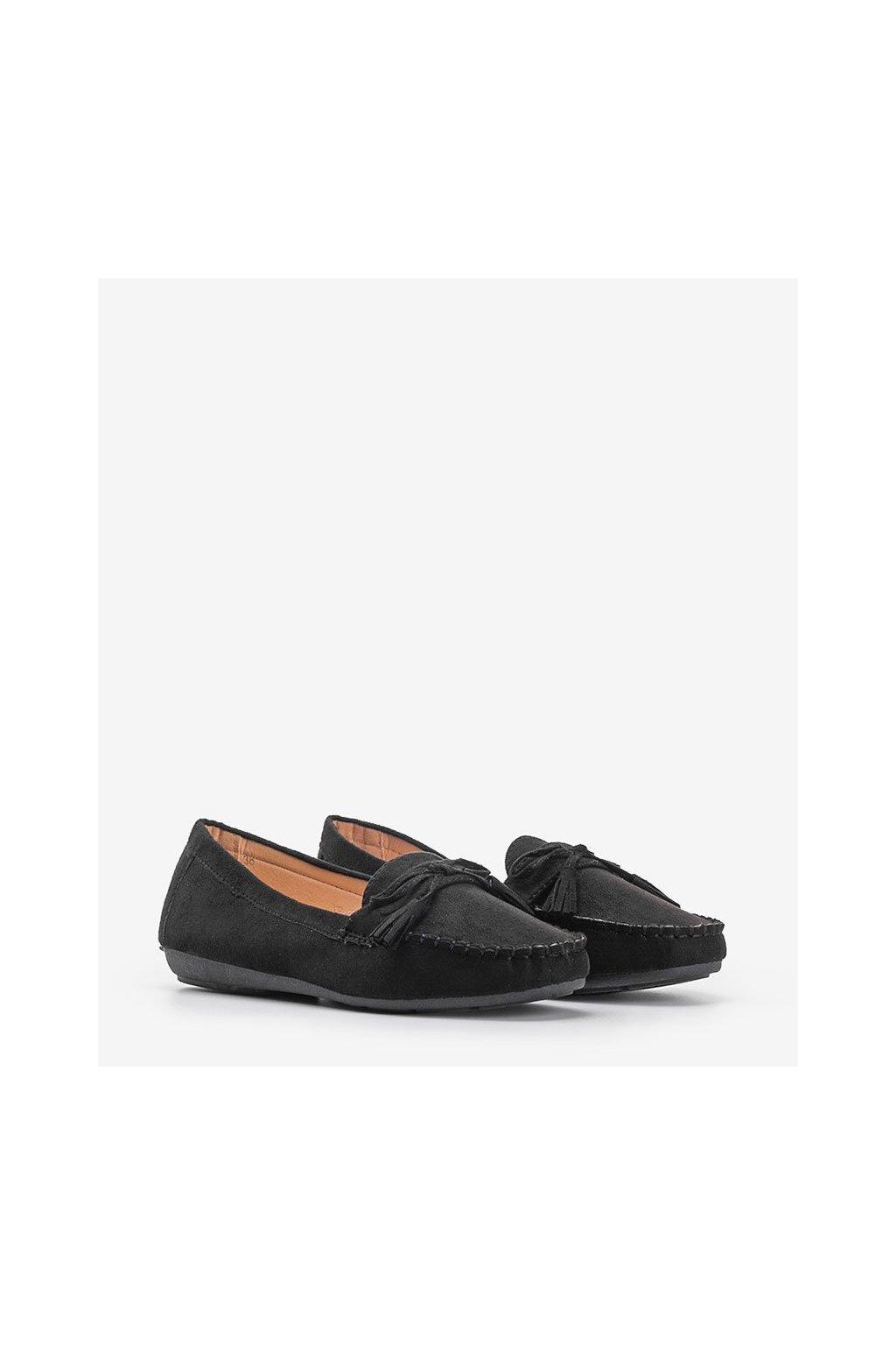 Dámske topánky mokasíny čierne kód XR-12R-1 - GM