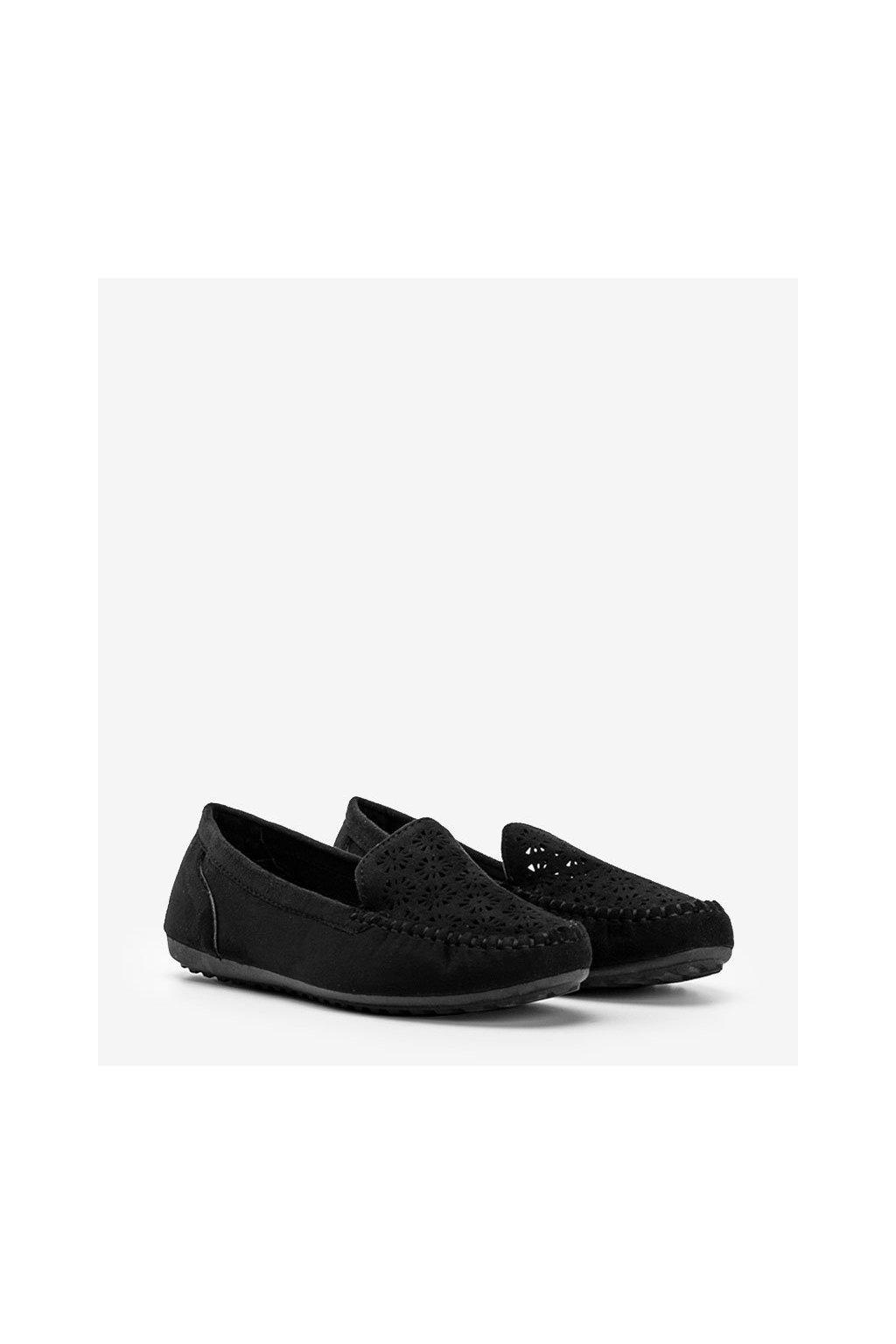Dámske topánky mokasíny čierne kód 195-13 - GM