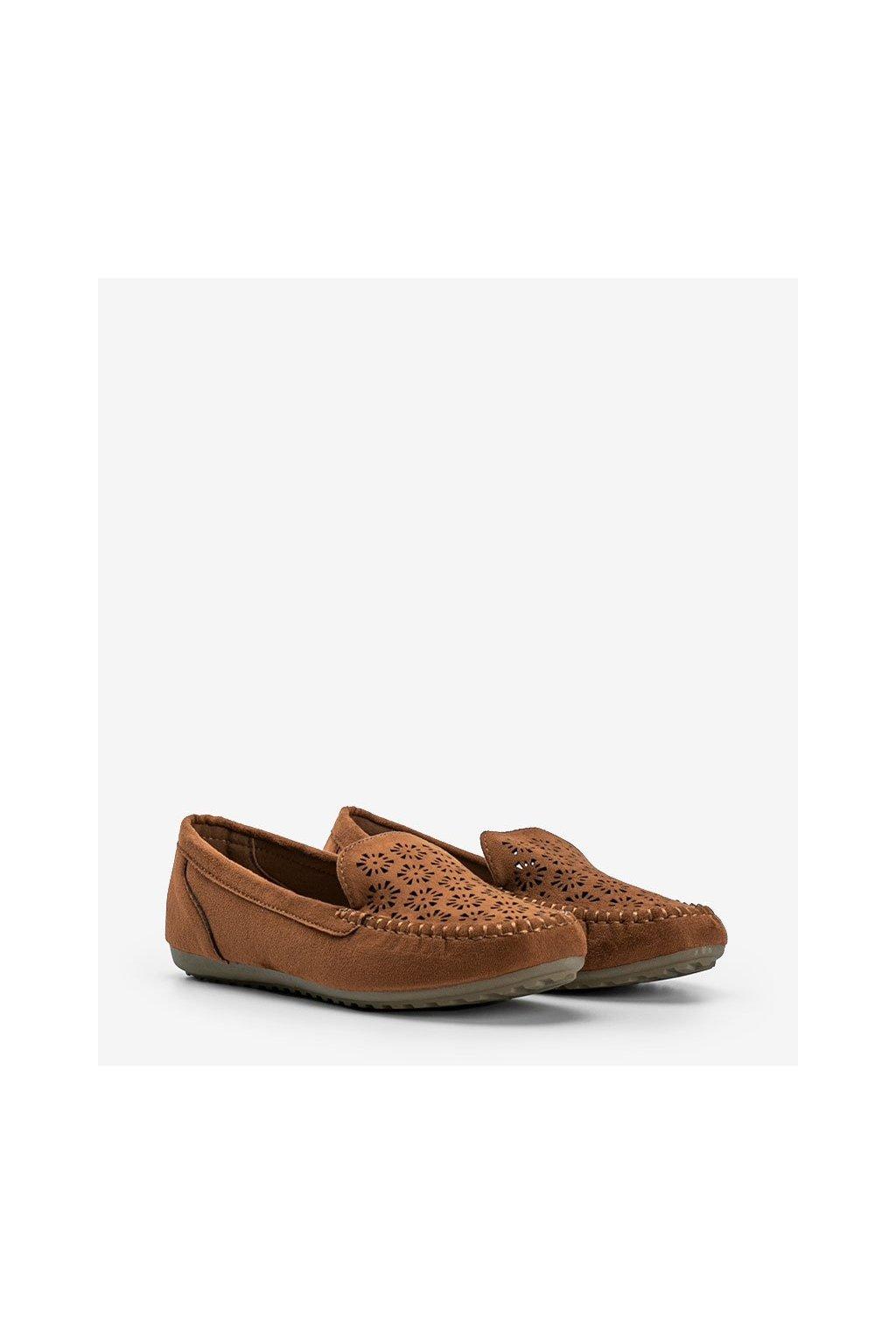 Dámske topánky mokasíny hnedé kód 195-13 - GM