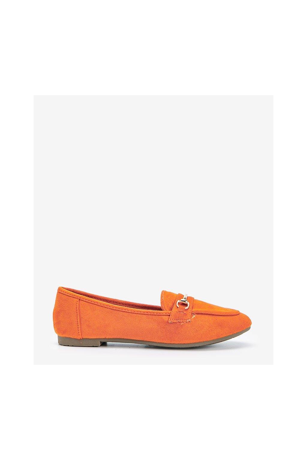 Dámske topánky mokasíny oranžové kód 88-385 - GM