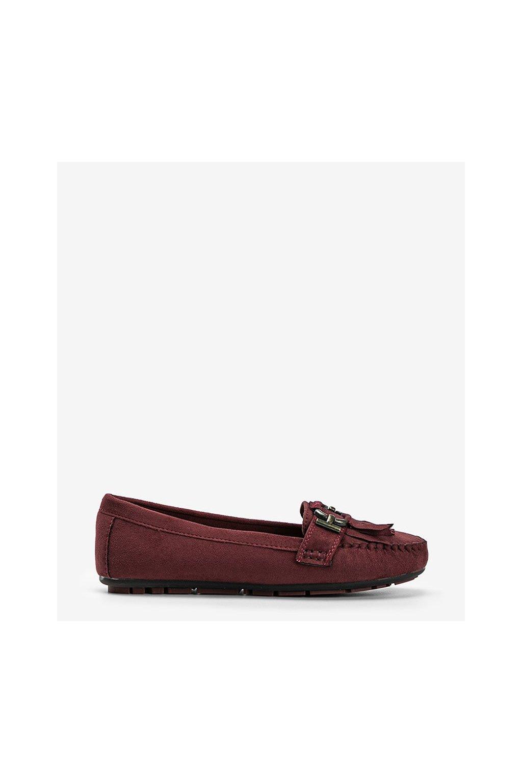 Dámske topánky mokasíny bordové kód H9260 - GM