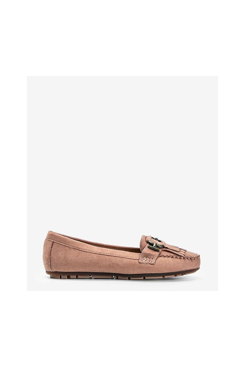 Dámske topánky mokasíny ružové kód H9260 - GM