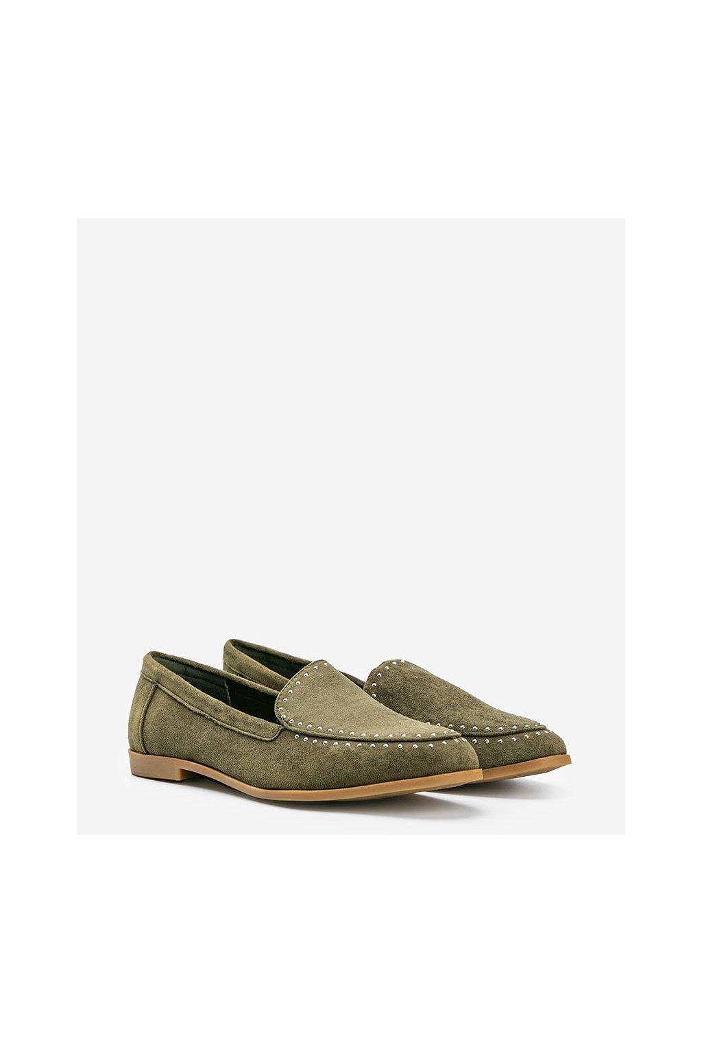 Dámske topánky mokasíny zelené kód 4322 - GM