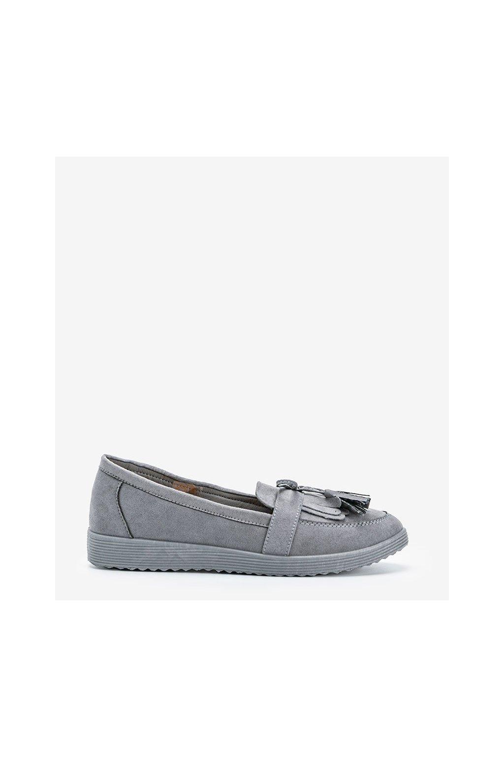 Dámske topánky mokasíny sivé kód DD1815-4 - GM