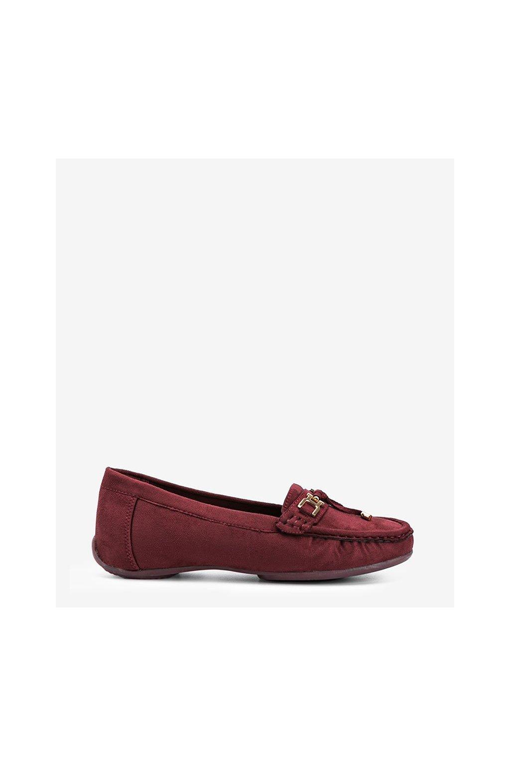 Dámske topánky mokasíny bordové kód H9228 - GM