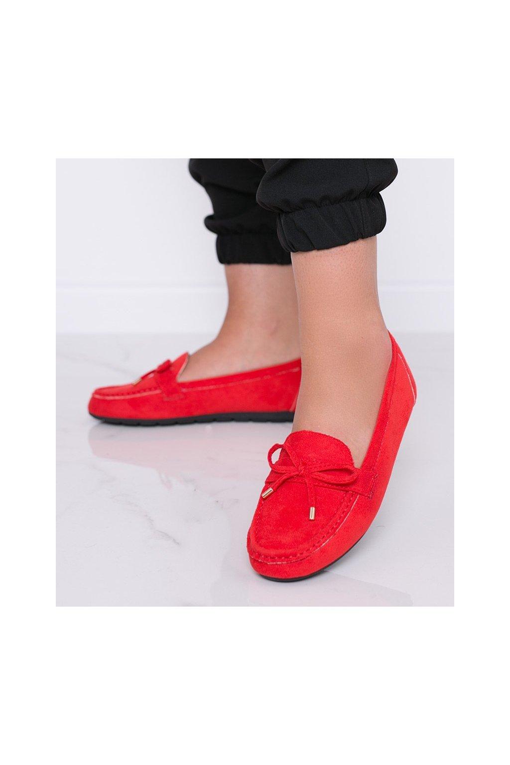 Dámske topánky mokasíny červené kód S-981 - GM