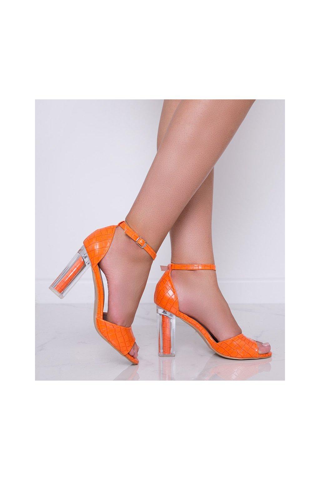 Dámske topánky lodičky oranžové kód S-869 - GM