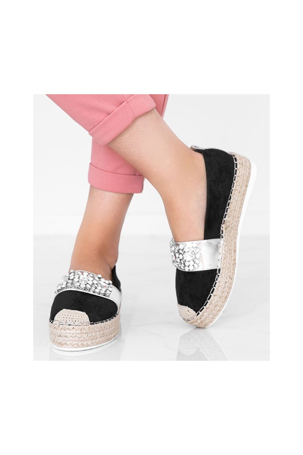 Dámske topánky espadrilky sivé kód L183M0-1 - GM
