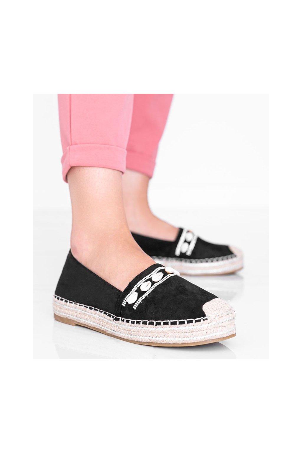 Dámske topánky espadrilky čierne kód 6771 - GM