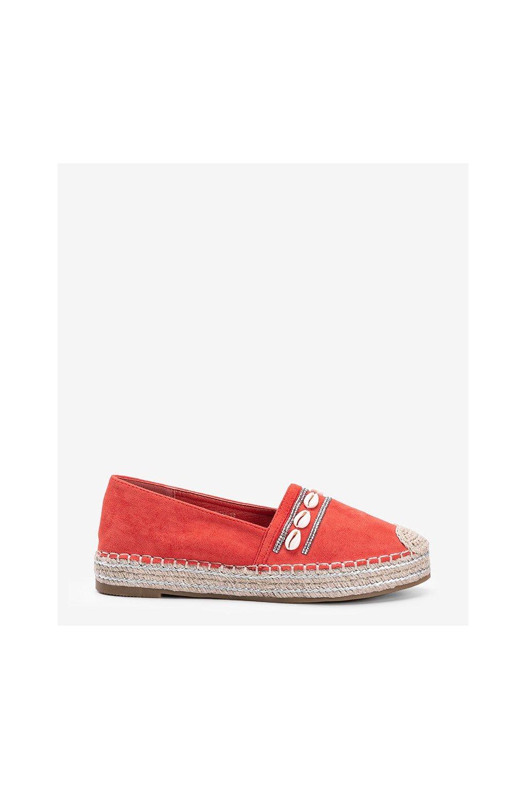 Dámske topánky espadrilky oranžové kód 6771 - GM