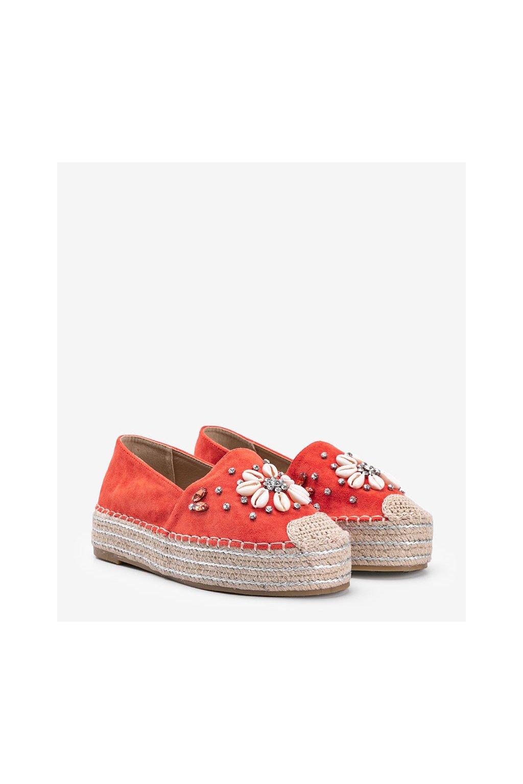 Dámske topánky espadrilky oranžové kód 2798 - GM