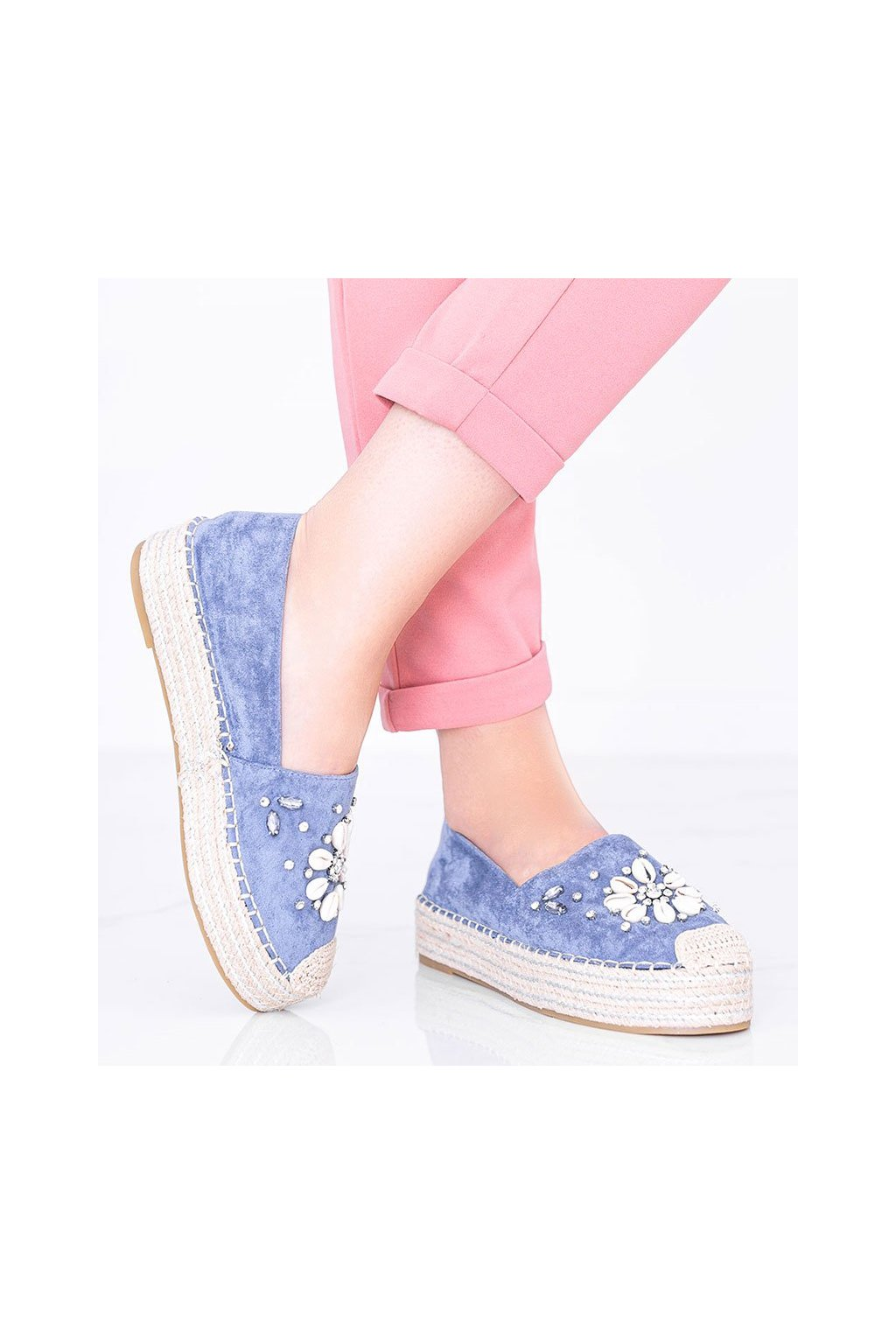 Dámske topánky espadrilky modré kód 2798 - GM