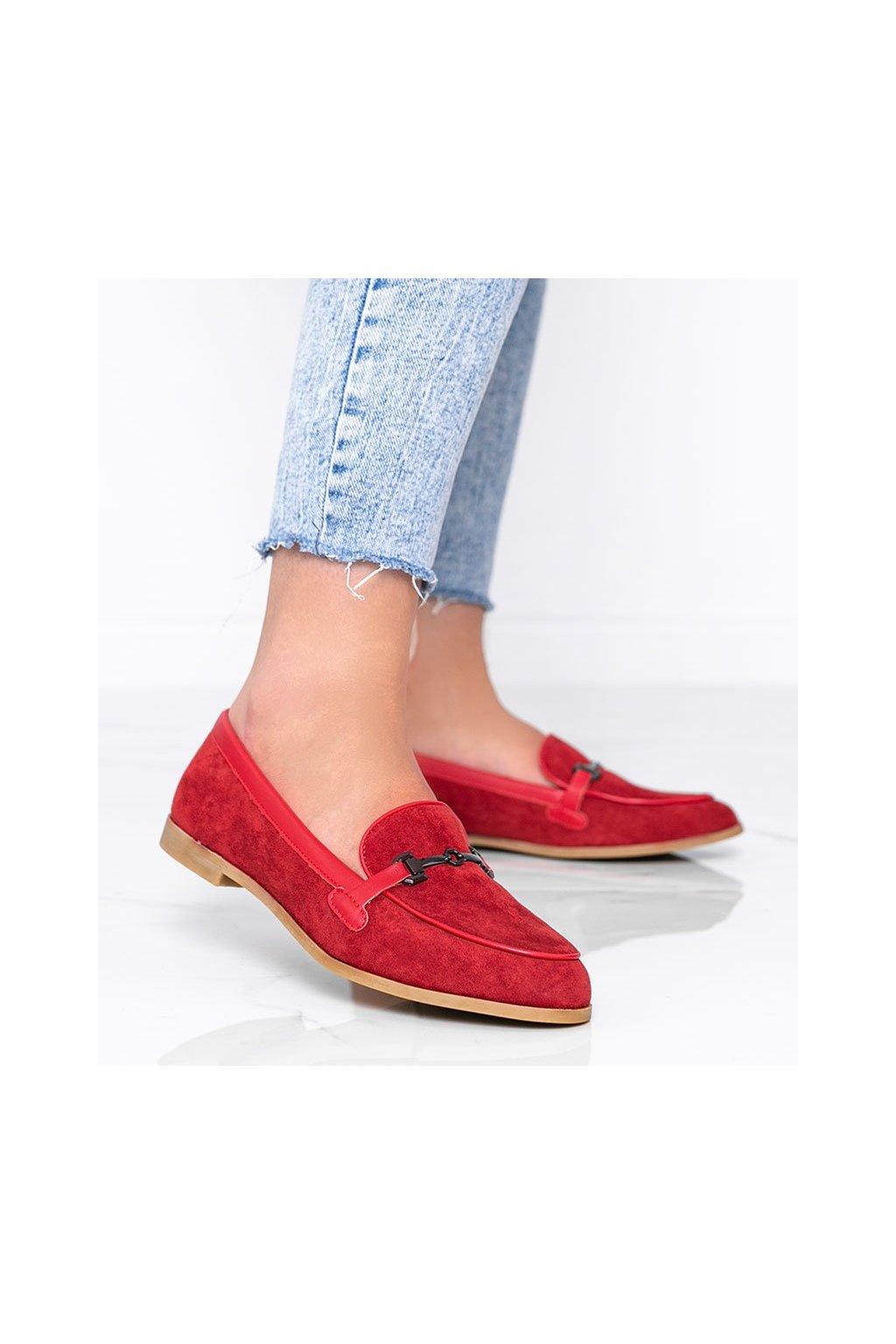 Dámske topánky mokasíny červené kód 8742 - GM