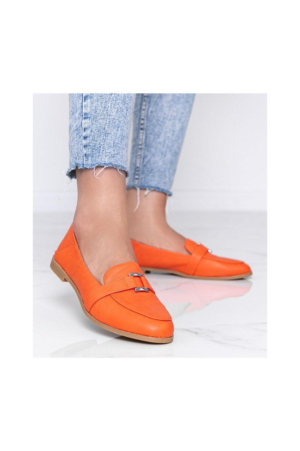 Dámske topánky mokasíny oranžové kód 4585 - GM