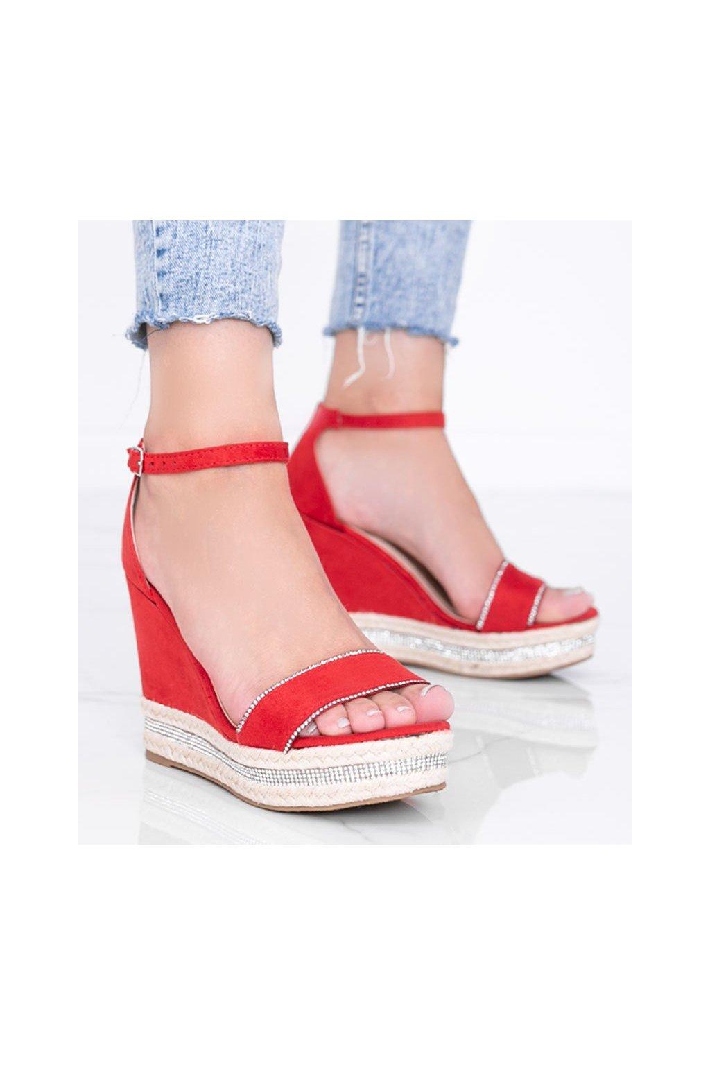Dámske topánky sandále červené kód LL6351 - GM