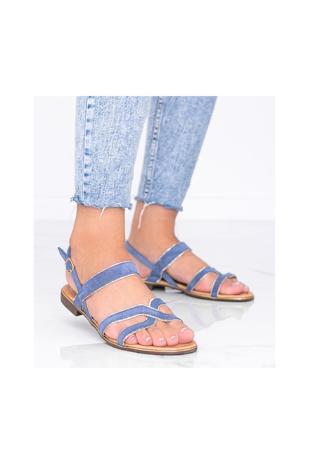Dámske topánky sandále modré kód H8-177 - GM