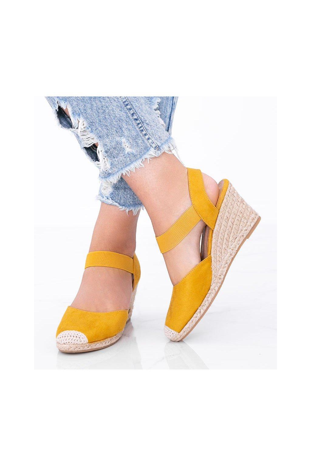Dámske topánky espadrilky žlté kód 9R50 - GM