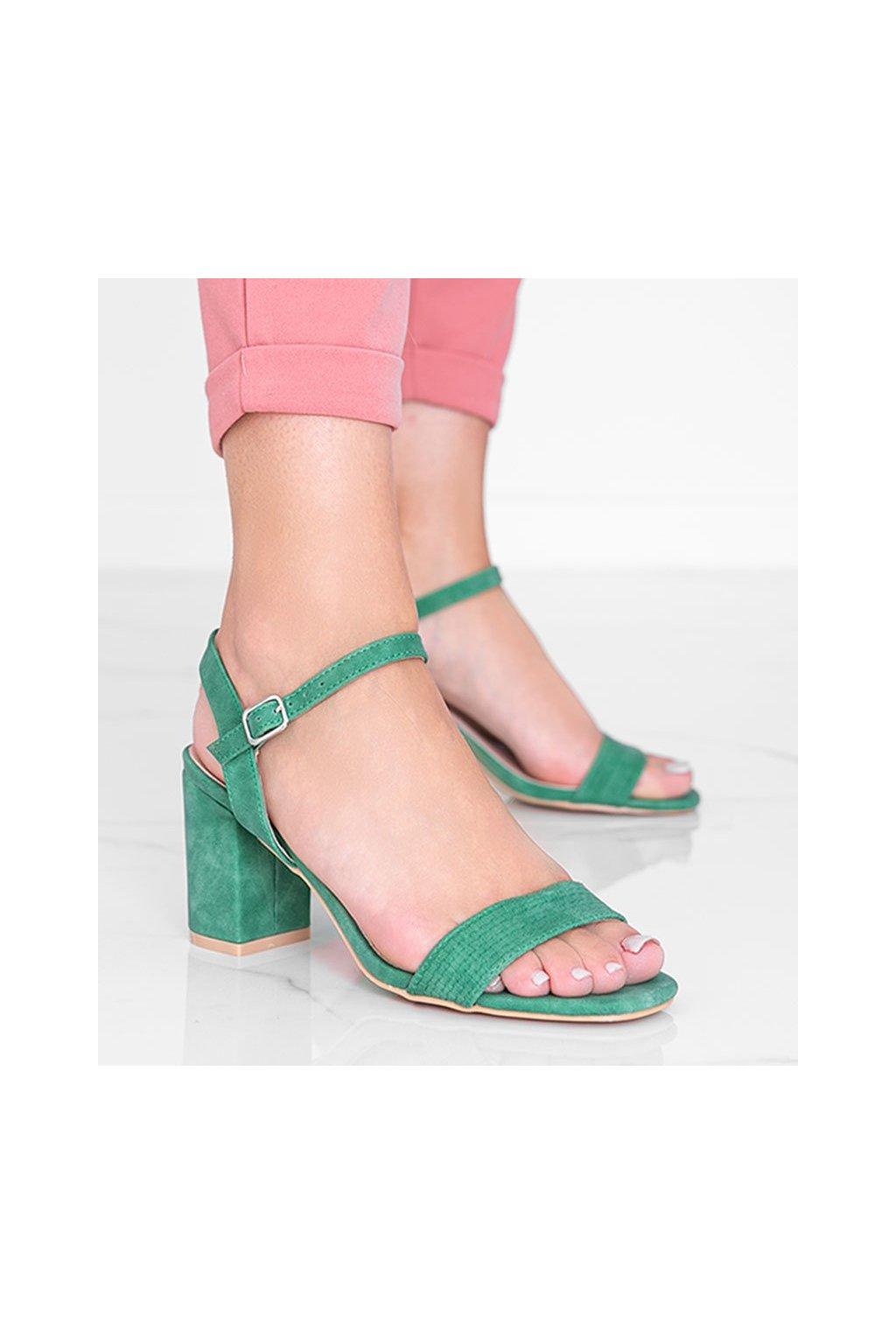 Dámske topánky sandále zelené kód 8158 - GM