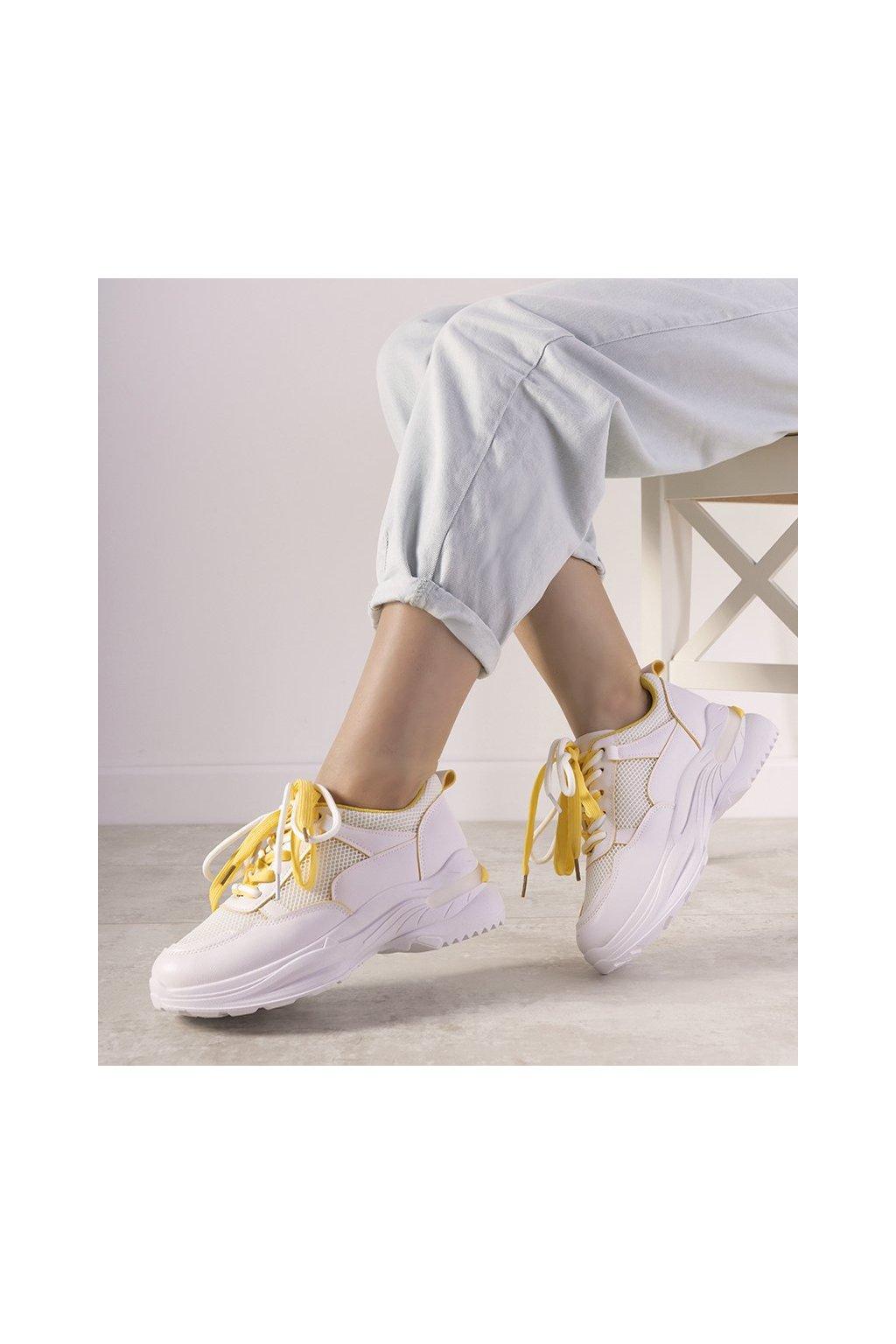 Dámske topánky tenisky biele kód B0-563 - GM