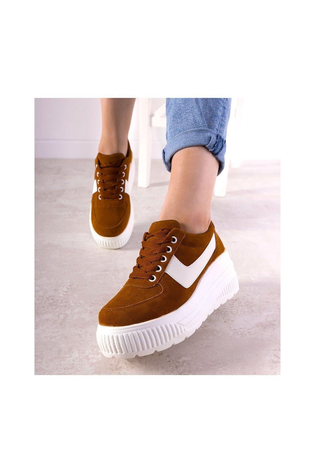 Dámske topánky tenisky hnedé kód E3141 - GM