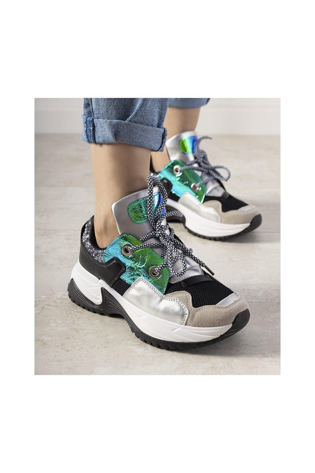 Dámske topánky tenisky sivé kód E2012 - GM