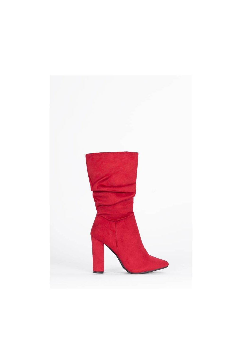 Dámske topánky čižmy červené kód - GM
