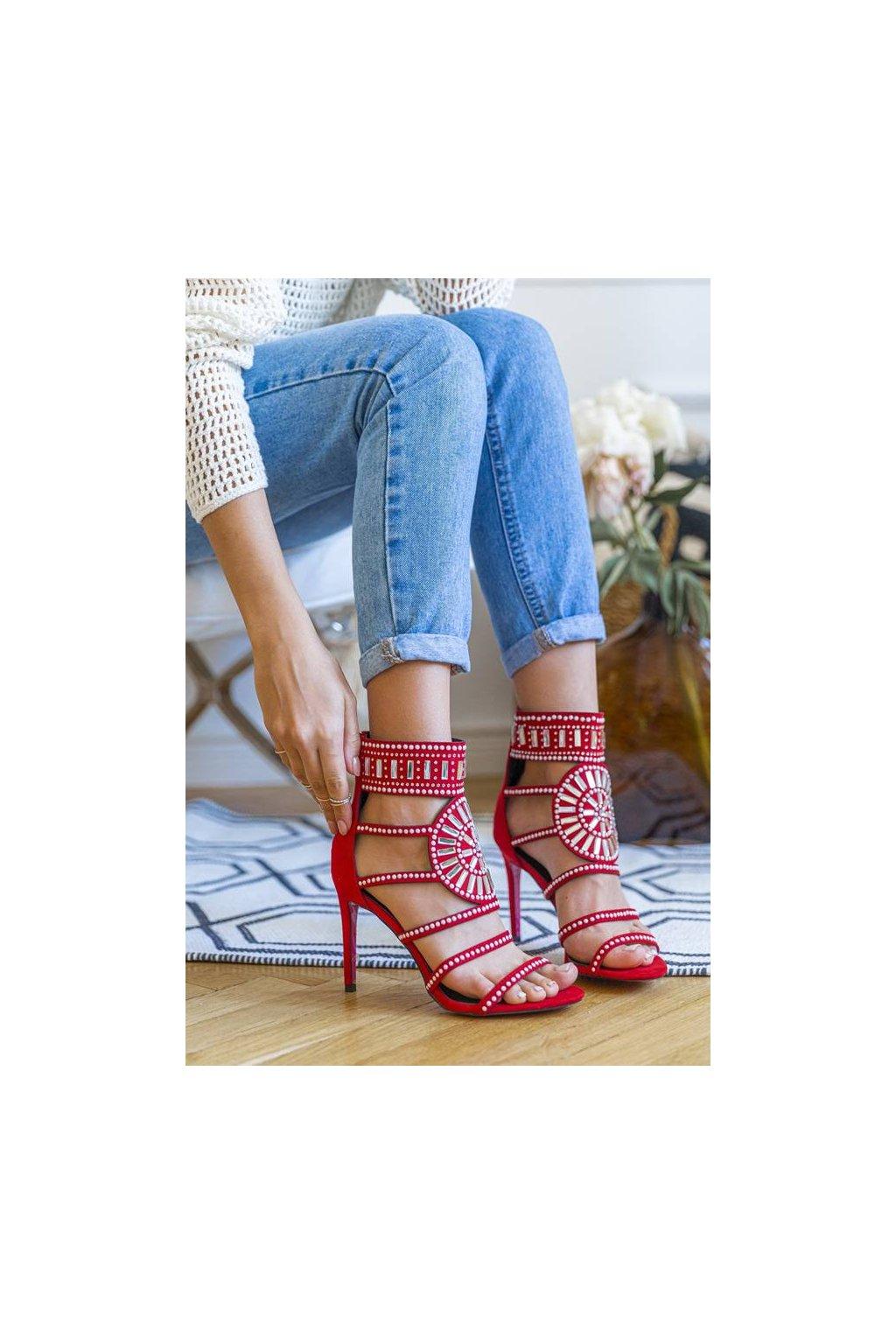 Dámske topánky sandále červené kód - GM