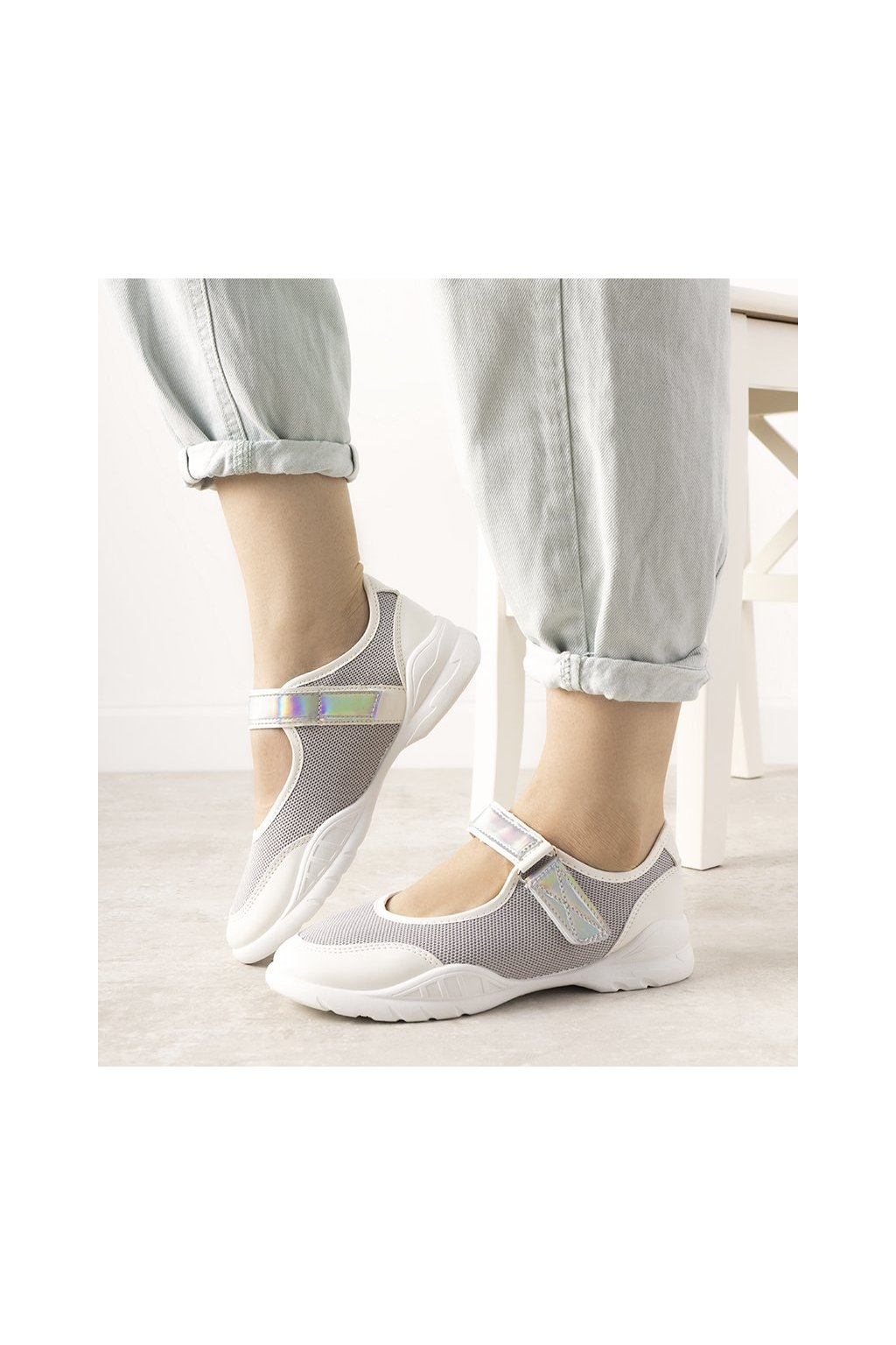 Dámske topánky tenisky sivé kód WH3101 - GM